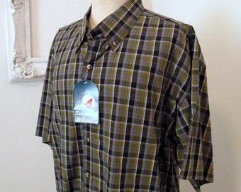 Crisp Plaid Vintage Short Sleeve Shirt Never Worn Men Sz XL