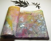 Spring blossom painting, Hand painted silk scarf, pink lilac and yellow scarf, 100% silk