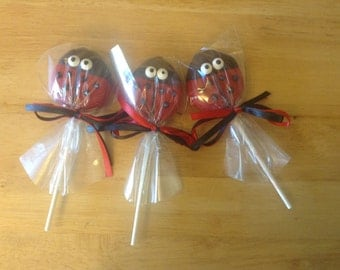 Ladybug Chocolate Covered Oreo Lollipops. One Dozen