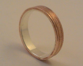 Sterling silver and Copper wedding band. Silver and Copper band