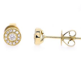 Dainty VS Round Pave White Diamond Stud Earrings High Polished 18k Yellow Gold