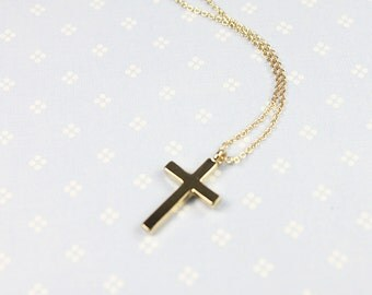 Tiny  Gold Cross Charm Necklace . Dainty and Modern Necklace Bridesmaid Gift Birthday Gift