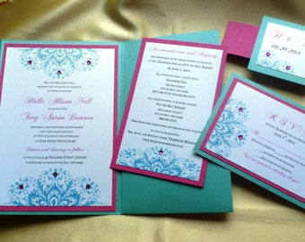 "Luxury Wedding Invitation (sample) -""Fuchsia Flower  """