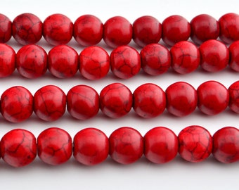 "15"" 10mm  Red Turquoise round beads, howlite round beads"
