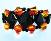 SALE!!!! Black and Orange Ring - Black and Fire Orange Swarovski Crystal Bicone Beaded Royalty Ring with Black Elastic Seed Beaded Band