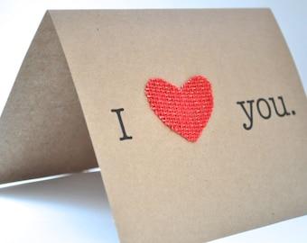 I love you card, I heart you, heart valentine card, anniversary card, love card, kraft card, simple anniversary card, blank anniversary card