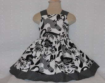 ZEBRA , Wild animal dress, Custom Boutique Girls Animal dress, Unique, Handmade Wild animal dress, Crisp black and white dress, sz 6 mo - 4T