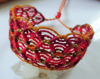 Red & Orange Macrame Friendship Bracelet Handmade wristband