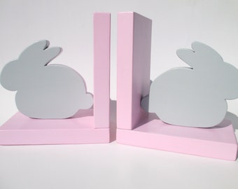 Bunny Bookends, Childrens Room Decor, Childrens Bookends, Rabbit Bookends, Easter Gift, Bunny Decor, Nursery Decor, Kids Bookends