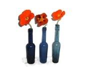 Tall blue bottles, vintage cobalt glass, castor oil bottles, cottage chic, flower display, Bristol blue, collector item, set of three