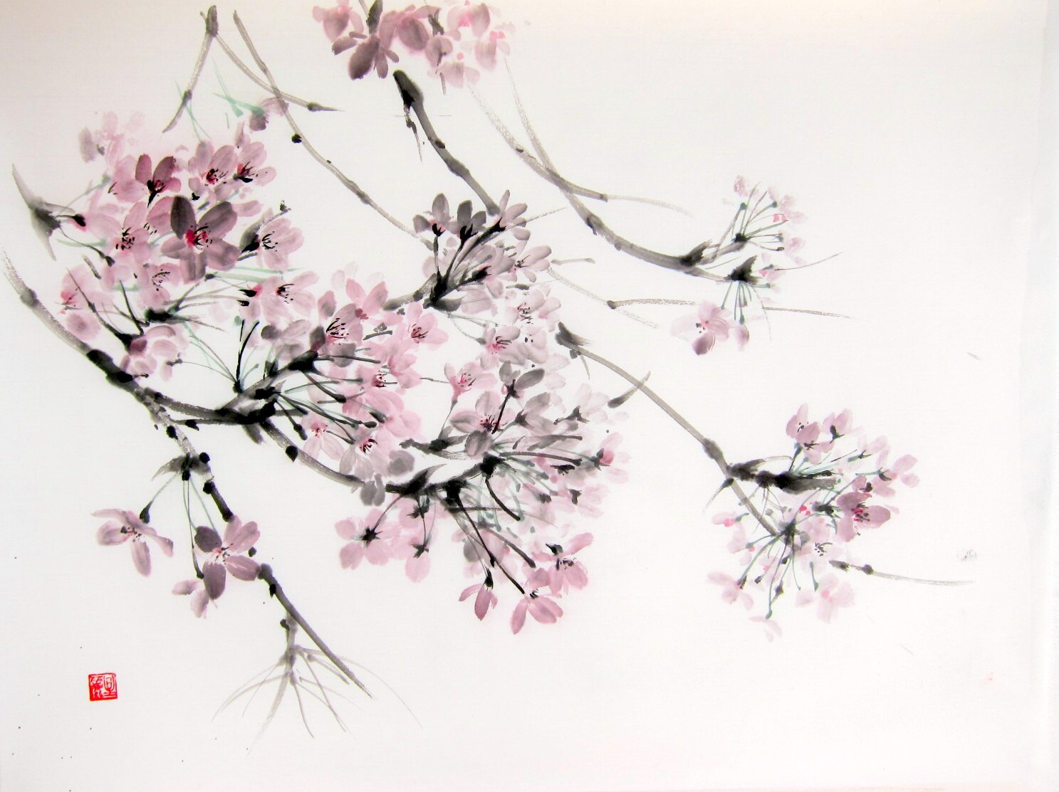 Cherry Blossom in the wind Japanese Ink Painting on Rice