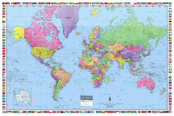 World map poster 36x24 rolled laminated 2017 like this item sciox Choice Image