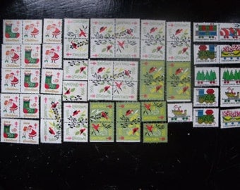 Christmas Seals 1960's, Assorted Set of 54