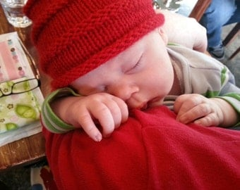 Red baby hat - knit hat wool beanie - red wool newborn hat - baby beanie - gift for baby