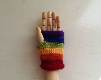 Rainbow kids gloves - childrens fingerless gloves - rainbow boy or girl - childrens mittens