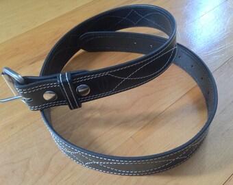 "36"" stitched, black leather belt"