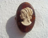Vintage Soviet Cameo Amber Brooch Made in USSR in 1970s