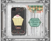 Cupcake iPhone Case, Personalized iPhone Case, Chalkboard Monogram Phone Case, iPhone 4, 4s, iPhone 5, 5s, 5c, iPhone 6, Phone Cover