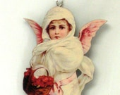 Victorian Christmas Wood Ornament, Beautiful Angel Braving the Snow to Gift some Flowers
