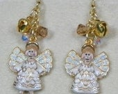 Glittering Angel Earrings with Crystals and Bells - Christmas- Winter - Jingle - hand made