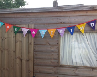 Happy Birthday Felt Bunting Banner - White Letters - Party