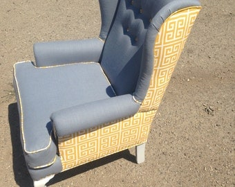 Custom Grey and Yellow Wingback Chair