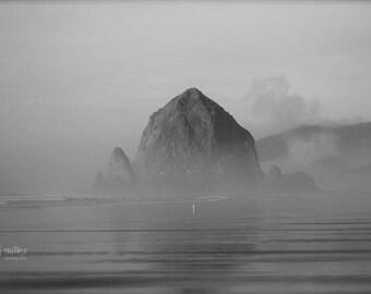 "Fine Art Photo - Title: ""Oregon Series Four"" - billi j miller photography - oregon, haystack rock, black and white, coast, sand"