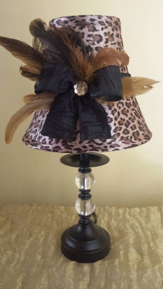 Leopard And Feather Lamp