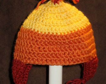 A Cunning Fire Colored Beanie with Ear Flaps- FT011