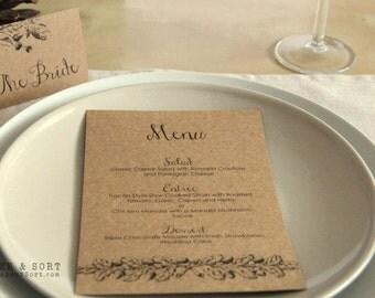 Set of 10 Autumn Fall Wedding Menu - Shabby Chic Rustic Wedding - Vintage Oak and Acorn Reception Stationery