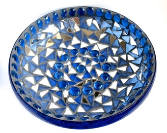 Mosaic Bowl - Blue Glass Bowl - Fruit Bowl - Upcycled - Mirror - Glass