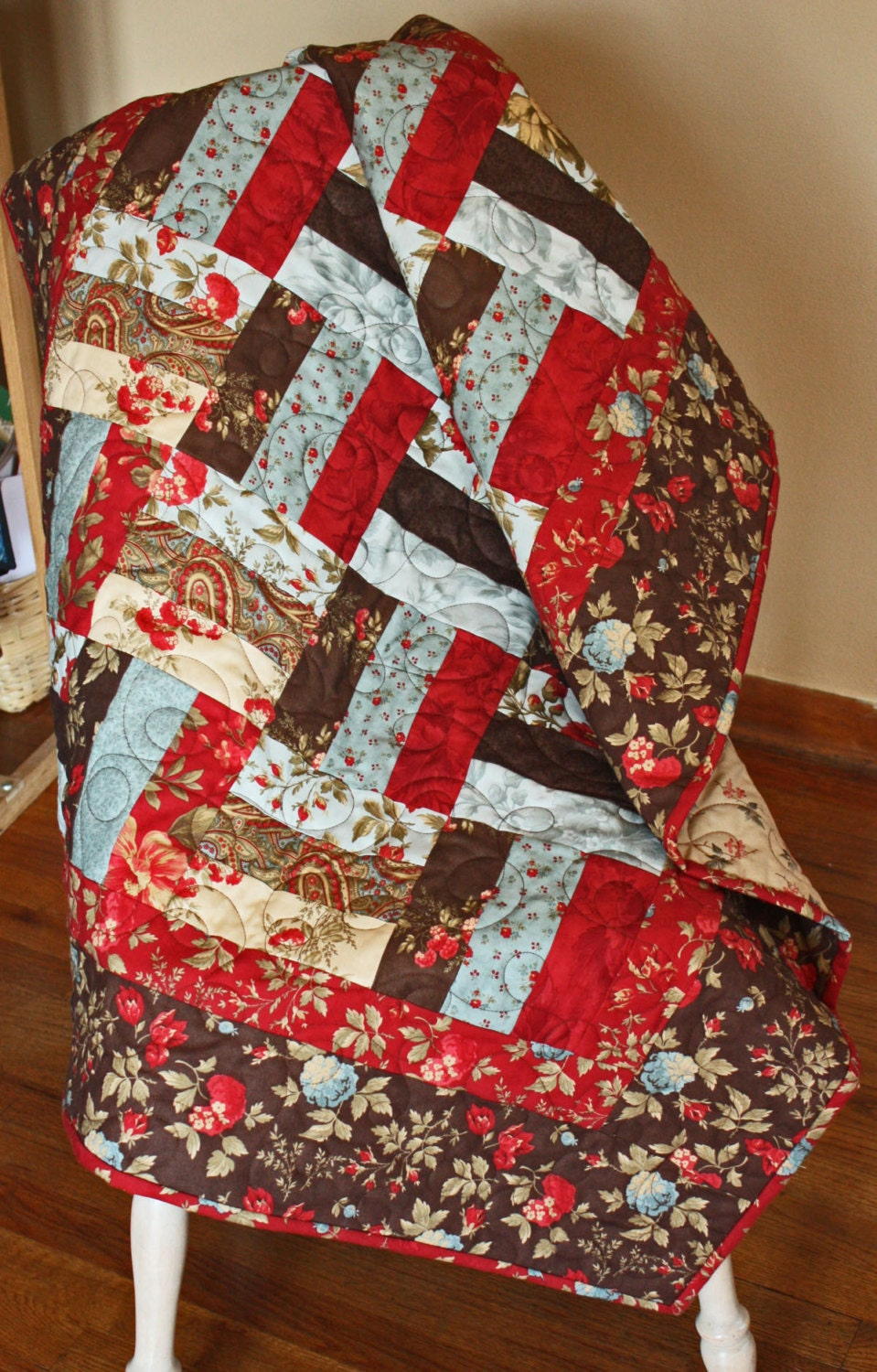 Rail Fence Lap Quilt Baby Quilt Wallhanging In Moda Double
