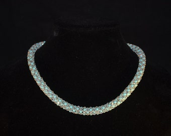 Exquisite Turquoise, Preciosa crystal, and glass seed bead rope stitch necklace