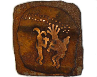 "Kokopelli lighted panel 14""x14"" - rustic sheet metal wall art with battery operated lighting on a timer"