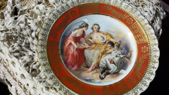 1930's F. Boucher 1703 –1770 French Old Master Roccoco Pastoral Scene Plate by Ackermann & Fritze Royal Vienna Porcelain Red Trim Gilded