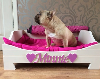 Personalised Bespoke Wooden MDF Dog Cat or Pet Bed - Made in Great Britain