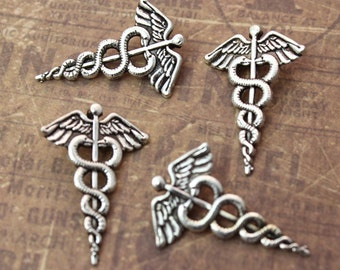 10 Caduceus Medical Charms Antique Tibetan Silver Tone 20 x 29 mm