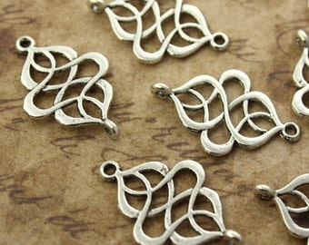 10 Celtic Knot Connect Celtic Knot Charms Antiqued Silver Tone Double Sided 17 x 21 mm