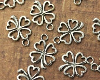 20 Four Leaf Clovers Charms Flower Pendants Antiqued Silver Tone 12 x 13 mm
