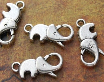 5 Elephant Lobster Clasp antique silver tone