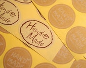 "40 ""Hand Made"" Brown Stickers Square Gift Tags Gift Wrapping Handmade Tags Product Labels"