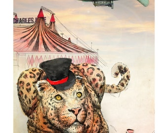 The Ringleader | A3 Limited edition Giclée print | Alykat Creative Escape from the Circus series | Leopard blimp