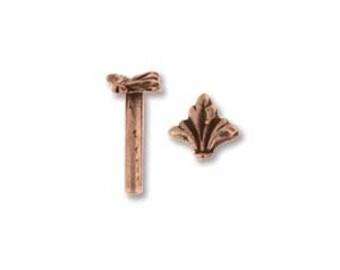 Decorative Antique Copper Rivets, Fleur De Lis,  5 Pack, Solid Rivet, Findings, Metal Work