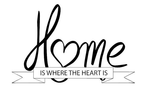 home wall saying home is where the heart is by splittheorydesigns. Black Bedroom Furniture Sets. Home Design Ideas