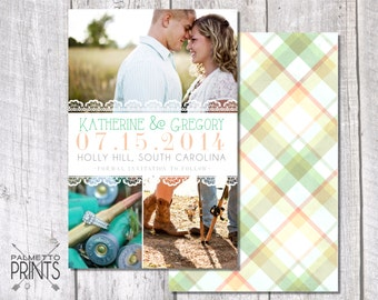Simple Lace & Plaid Photo Save the Date - Wedding Save the Date