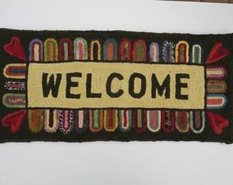 "primitive hand hooked rug "" CUSTOM DESIGNED"" for you 12"" x 24"""