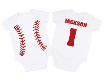 Personalized Baseball Bodysuit. Great Baby Shower Gift / 1st Birthday Present. Baseball Boy Clothes. Baseball Bodysuit. (Shirt Avail)