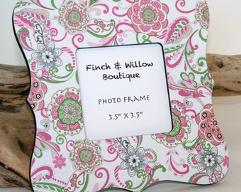 Pink and Green decor, Floral Picture frame, Photo frame, Baby shower gift, Pink and green