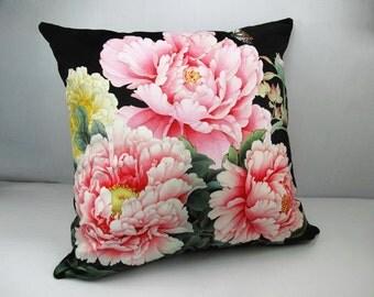 Decorative Velvet Pillow Cushion Cover Peony Pink Flower Black Pillowcase Double Sides
