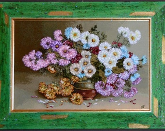 """Ribbon embroidery arras """"Chrysanthemums,"""" embroidered  """"Silk ribbon embroidery"""", ribbon flowers, flowers picture, framed embroidery"""
